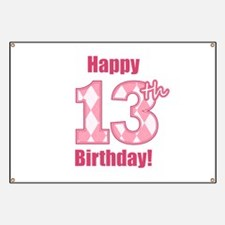Happy 13th Birthday - Pink Argyle Banner