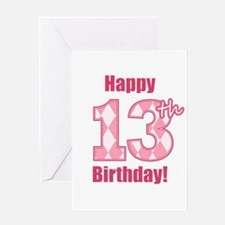 Happy 13th Birthday - Pink Argyle Greeting Card