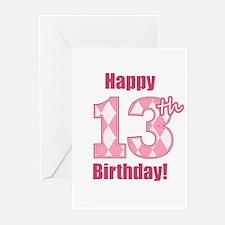 Happy 13th Birthday - Pink Argyle Greeting Cards (