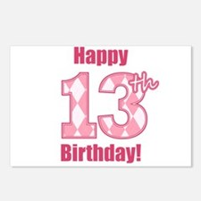 Happy 13th Birthday - Pink Argyle Postcards (Packa