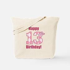 Happy 13th Birthday - Pink Argyle Tote Bag