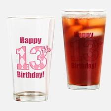 Happy 13th Birthday - Pink Argyle Drinking Glass