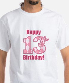 Happy 13th Birthday - Pink Argyle T-Shirt