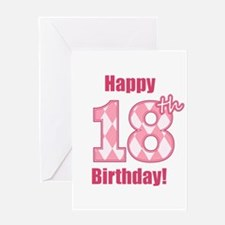 Happy 18th Birthday - Pink Argyle Greeting Card