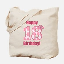 Happy 18th Birthday - Pink Argyle Tote Bag