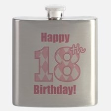 Happy 18th Birthday - Pink Argyle Flask