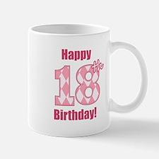 Happy 18th Birthday - Pink Argyle Mug