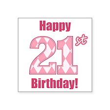 Happy 21st Birthday - Pink Argyle Sticker