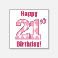Happy 21st Birthday - Pink Argyle Sticker