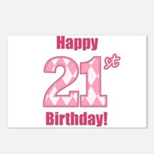 Happy 21st Birthday - Pink Argyle Postcards (Packa