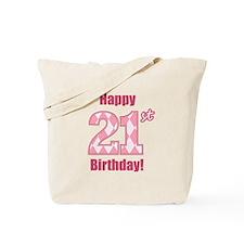 Happy 21st Birthday - Pink Argyle Tote Bag