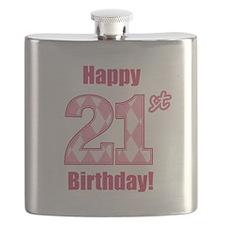 Happy 21st Birthday - Pink Argyle Flask