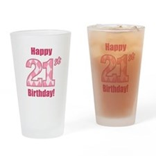 Happy 21st Birthday - Pink Argyle Drinking Glass