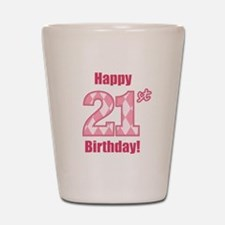 Happy 21st Birthday - Pink Argyle Shot Glass