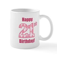 Happy 21st Birthday - Pink Argyle Mug