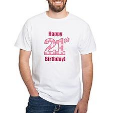 Happy 21st Birthday - Pink Argyle T-Shirt
