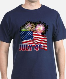 FLAG WITH FIREWORKS T-Shirt