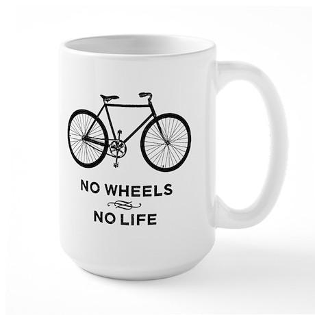 No Wheels No Life Cycling Large Mug