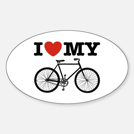I Love My Bicycle Sticker (Oval)