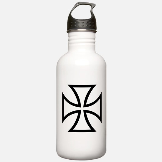 Black iron cross Water Bottle
