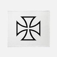 Black iron cross Throw Blanket