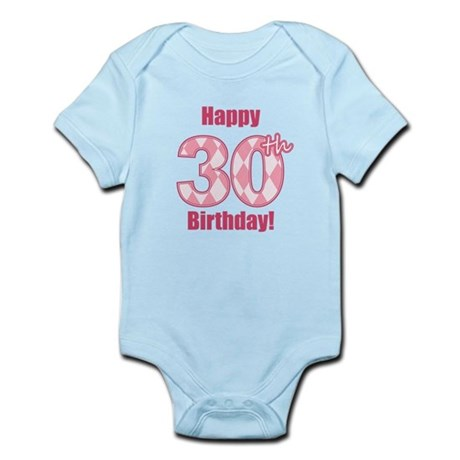 Happy 30th Birthday - Pink Argyle Body Suit