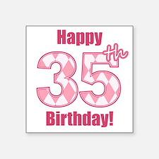 Happy 35th Birthday - Pink Argyle Sticker
