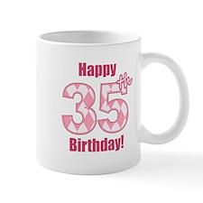 Happy 35th Birthday - Pink Argyle Mug