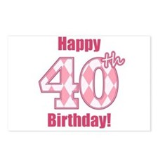 Happy 40th Birthday - Pink Argyle Postcards (Packa