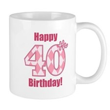 Happy 40th Birthday - Pink Argyle Mug