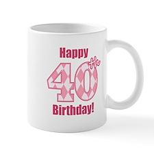 Happy 40th Birthday - Pink Argyle Small Small Mug