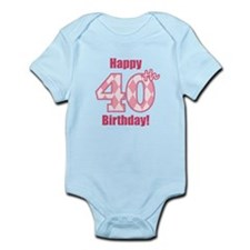 Happy 40th Birthday - Pink Argyle Body Suit