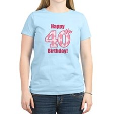 Happy 40th Birthday - Pink Argyle T-Shirt