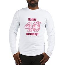 Happy 40th Birthday - Pink Argyle Long Sleeve T-Sh