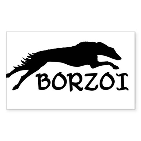 Running Borzoi w/Text Oval Sticker
