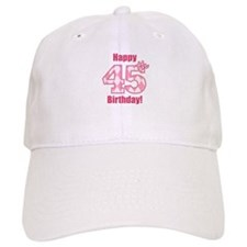 Happy 45th Birthday - Pink Argyle Baseball Baseball Cap