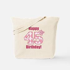 Happy 45th Birthday - Pink Argyle Tote Bag