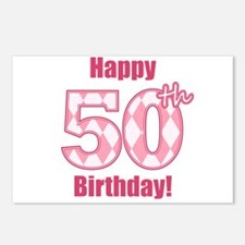 Happy 50th Birthday - Pink Argyle Postcards (Packa