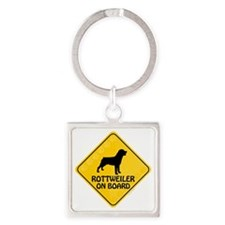 Rottweiler On Board Square Keychain