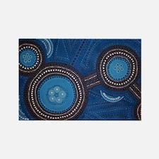 Australian Aboriginal Inspired Art Rectangle Magne