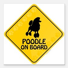 """Poodle On Board Square Car Magnet 3"""" x 3"""""""