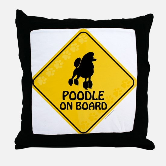 Poodle On Board Throw Pillow