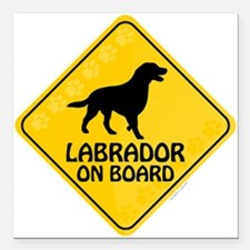 "Labrador On Board Square Car Magnet 3"" x 3"""