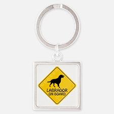 Labrador On Board Square Keychain