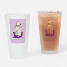 Morrissey the Cat with glasses Drinking Glass