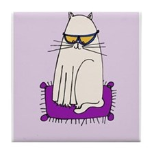 Morrissey the Cat with glasses Tile Coaster