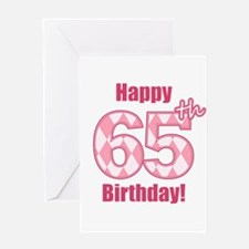 Happy 65th Birthday - Pink Argyle Greeting Card