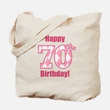Happy 70th Birthday - Pink Argyle Tote Bag
