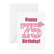 Happy 75th Birthday - Pink Argyle Greeting Cards (