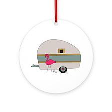 Camper Flamingo Ornament (Round)